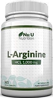 L-Arginina 4000-365 Comprimidos Vegetarianos y Veganos, Suministro Hasta Para Un Año de L-Arginina HCL, 1000 mg por Comprimido, Más Potente Que las Cápsulas de L-Arginina de las Marcas Competidoras