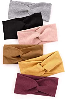 Huachi Turban Headbands for Women Boho Headwrap Knotted Plain Girls Hair Bands Elastic for Yoga Workout Bow Hair Accessories, Solid Colors, 6 Pack