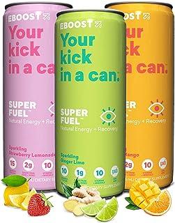 EBOOST Super Fuel Natural Nootropic Energy Drink   Electrolytes + Vitamins (B12) + Milk Thistle   Sports Preworkout Drink,...