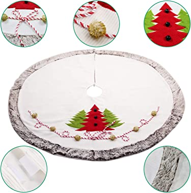 Christmas Tree Skirt White Faux Fur Border Large Luxury Skirt with Classic Jingle Bell Thicken Plush Christmas Decorations 48