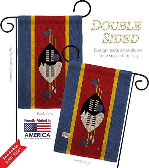 Amazon Com Breeze Decor Gs108289 Db 03 Swaziland Burlap Flags Of The World Nationality Impressions Decorative Vertical 13 X 18 5 Double Sided Garden Flag Set Metal Fansy Wall Bracket Hardware Garden Outdoor