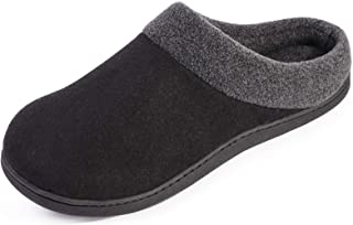 HomeIdeas Men`s Woolen Fabric Memory Foam Anti-Slip House Slippers, Autumn Winter Breathable Indoor Shoes