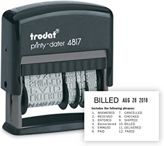 Trodat Printy 4817 Self-inking Economy 12-Message and Date Stamp, Black