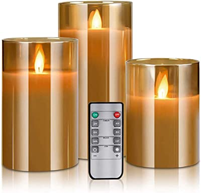Amazon Com Kithouse Flameless Led Candles Flickering Battery Operated Pillar Real Wax Led Glass Candle Sets With Remote Control Cycling 24 Hours Timer 4 5 6 Pack Of 3 Home Improvement