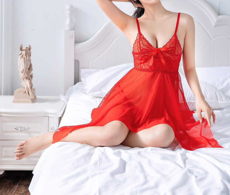 QCWQMYL Elastic Mesh Lace Dress and G-Thong Lingerie Set for Women Deep V Neck