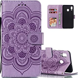 LEECOCO for Galaxy A30 Case Mandala Embossing Luxury PU Leather Flip Wallet Bookstyle Magnetic Stand Card Slot Folio Bumper Protection Cover for Samsung Galaxy A20 / A30 Mandala Light Purple LD