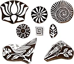 Hashcart Baren for Block Printing Stamps/Wooden Stamping Block/Handcarved Designer Craft Printing Pattern for Saree Border,Henna/Textile Printing,Scrapbooking,Pottery Crafts & Wall Painting,Set of 8