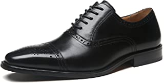 La Milano Mens Leather Cap Toe Lace up Oxford Dress Shoes Classic Modern Business Casual Shoes for Men Black Size: 9.5