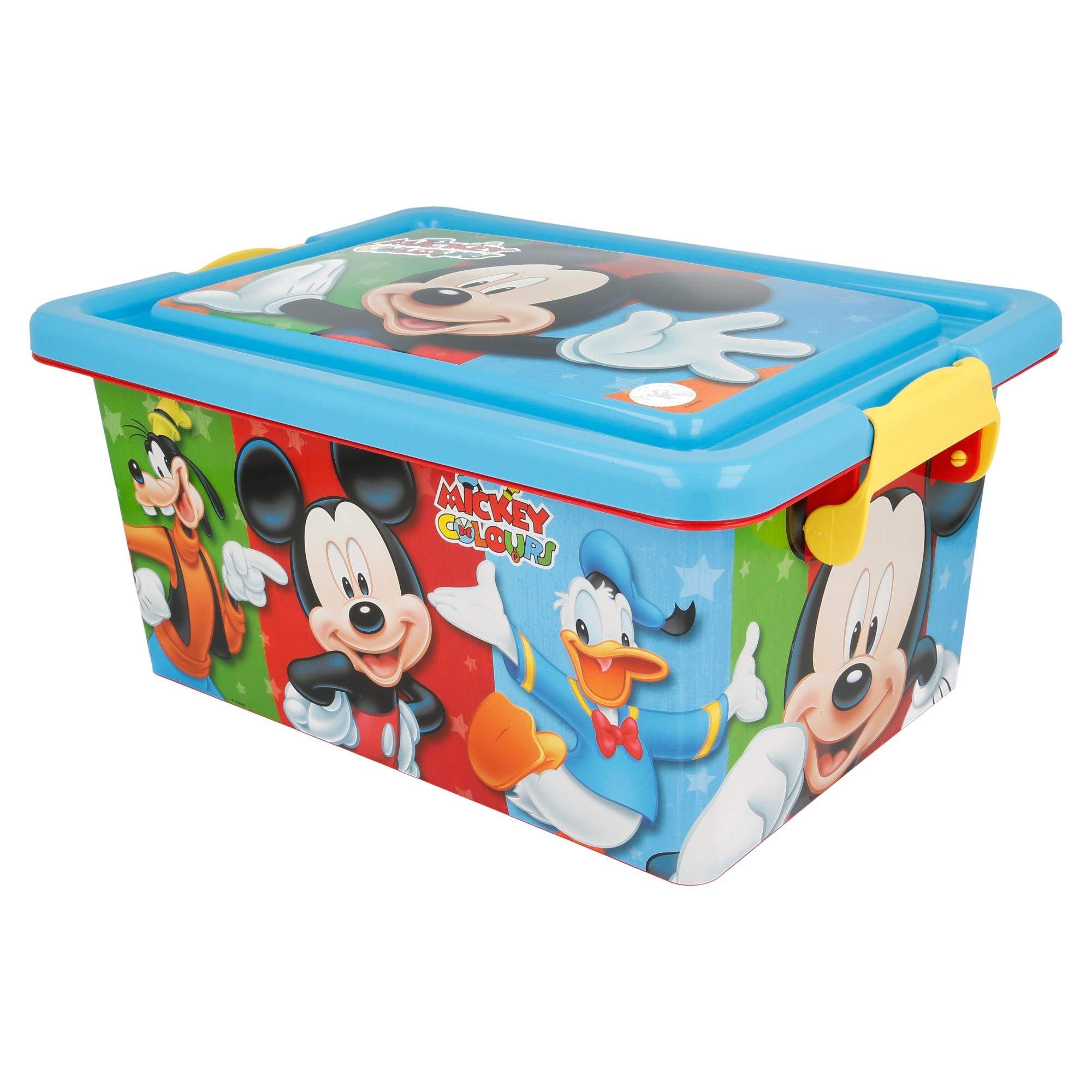 Mickey Mouse Contenedor 7 litros con Tapa y Cierres, Caja organizadora (STOR 04484): Amazon.es: Juguetes y juegos