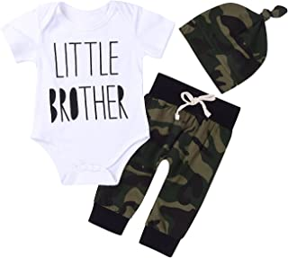 3Pcs Baby Boys Little Brother Camouflage Romper...