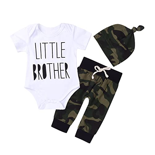 00a4f90c9 3Pcs Baby Boys Little Brother Camouflage Romper Tops+Pants Leggings+ Hat  Outfits Set