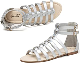Sponsored Ad - Women's Gladiator Sandal Flat Strap Sandals Two Ankle Buckle