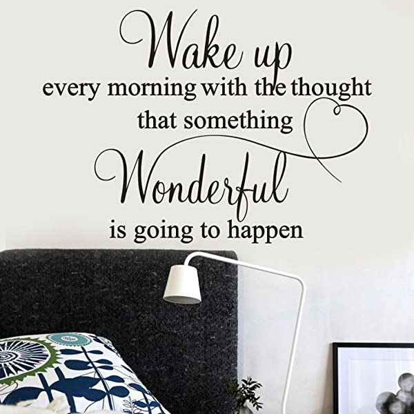 Vacally Wall Decor Stickers Letter Wake Up Every Morning Removable Art Vinyl Mural Home Room Decor Wall Stickers