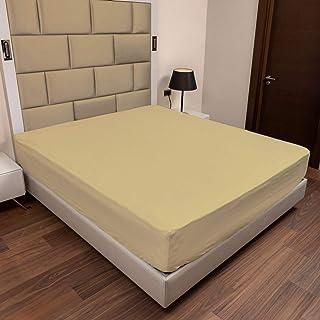 ABAKUHAUS Coton Drap-Housse, Drap de lit Super Doux Couleur Unie Élastique, 120 cm x 190 cm, Jaune Pastel