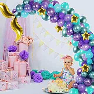 Mermaid Party Supplies, 118Pcs Mermaid Tail Balloon Garland, Purple & Green & Gold Star Balloons Arch Tool Set for Mermaid Happy Birthday, Baby Shower, Under The Sea Party Decoration