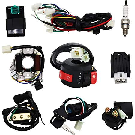 Amazon.com: Complete Electrics Wiring Harness Stator Coil CDI Solenoid  Relay Spark Plug For 4 wheelers Stroke ATV (50cc 70cc 110cc 125cc) Pit Quad Dirt  Bike taotao Go Kart By OTOHANS AUTOMOTIVE: Automotive | Redcat 50cc Dirt Bike Wiring Diagram |  | Amazon.com