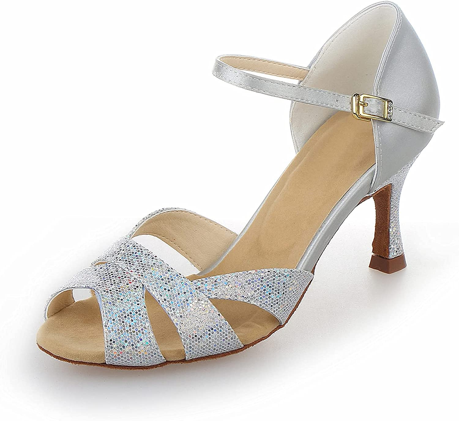 JIAJIA Y2054 Women's Satin Sandals Low price Perfo Latin Salsa In a popularity Flared Heel