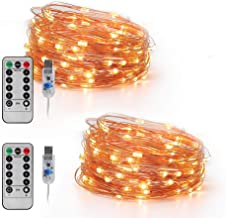 LED Fairy Lights Plug in Led String Lights 16.4FT 50 LED USB Twinkle Fairy Lights with Remote, 8 Modes Warm Light Copper Wire Lights for Bedroom Christmas (2 Pack, 16.4 ft)