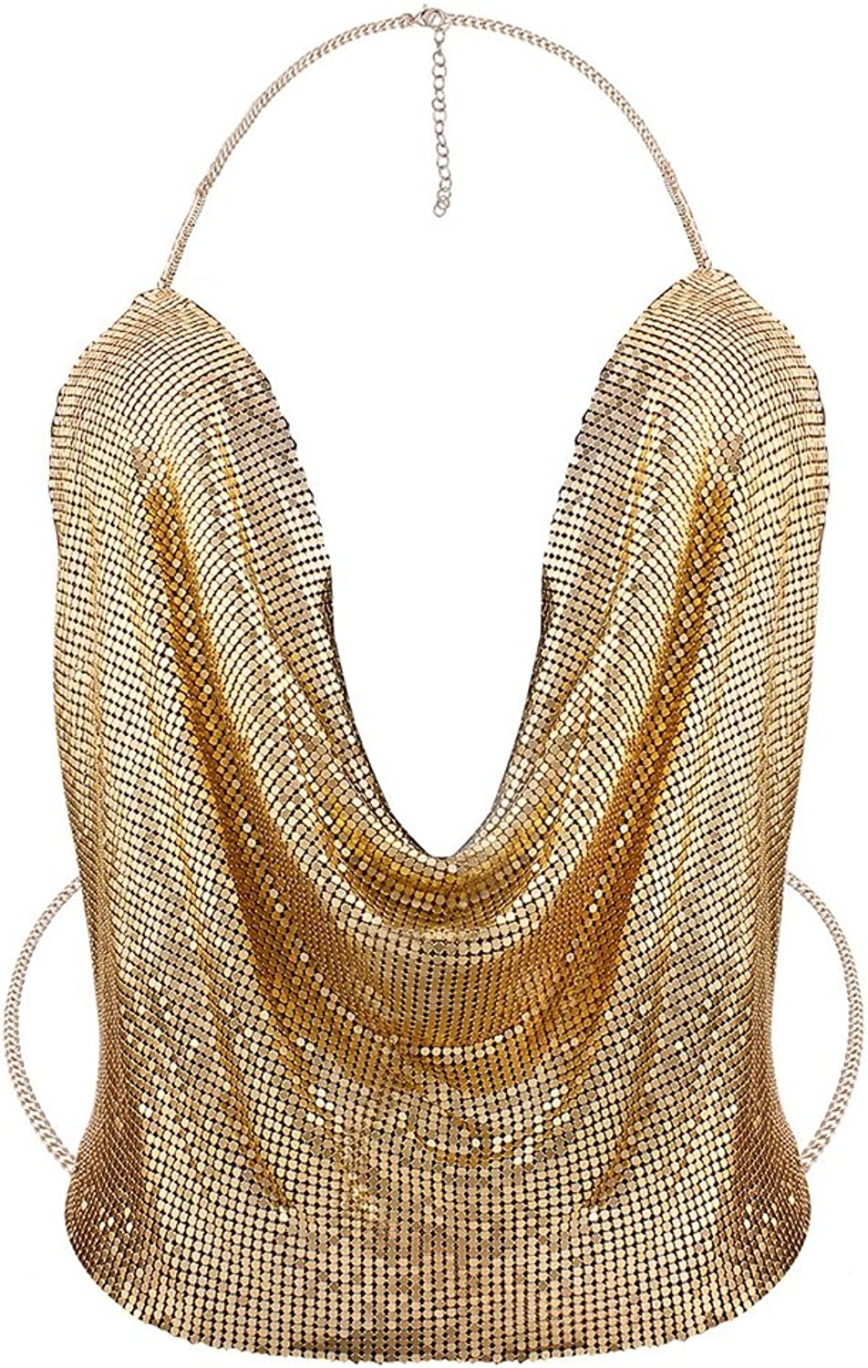 RYRYBH Women's Breast Chain Nightclub Full Diamond Chain Exaggerated Jewelry Punk Fashion Open Back Chain Jewelry Alloy Sequined Jacket Daily Wear Female Accessories (color   gold)