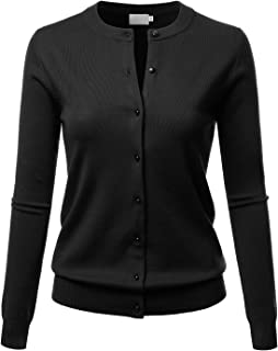 LALABEE Women's Crew Neck Gem Button Long Sleeve Soft Knit Cardigan Sweater