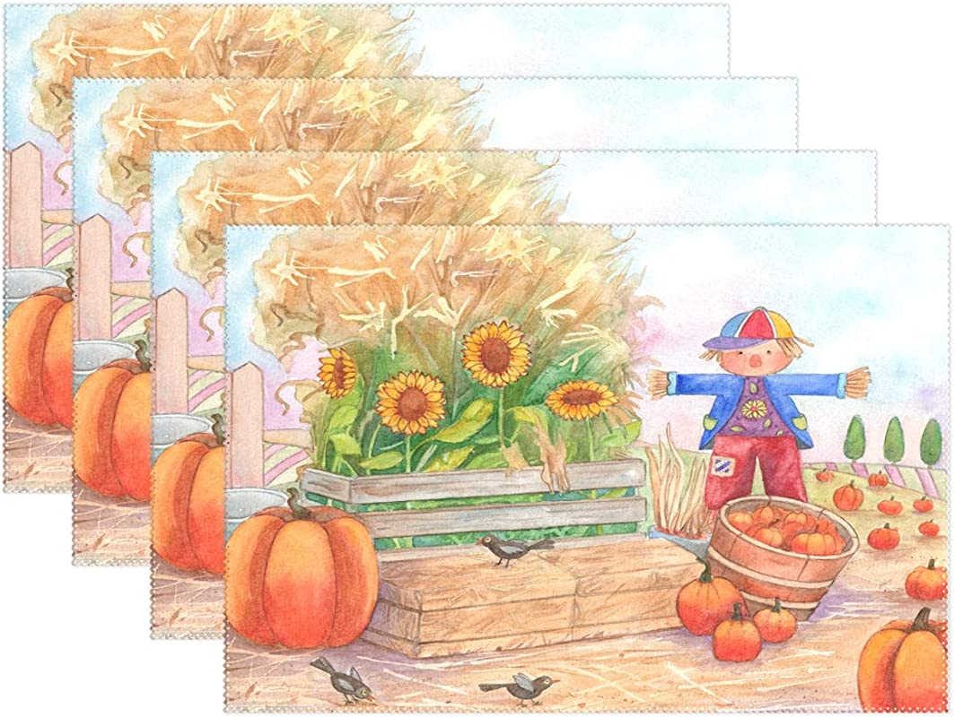 Pumpkin Sunflower And Bird Placemats Set Of 4 For Kitchen Table Heat Resistant Washable Table Mats