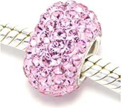 2pcs Sterling Silver Jan-Dec Birthstone Charm Beads Swarovski Crystal Elements fit All Charm Bracelets Women Girls Mother's Gifts