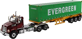 Western Star 4700 SB Tandem Truck Tractor Met. Red w/Skeleton Trailer & 40` Dry Goods Sea Container Evergreen 1/50 Diecast by Diecast Masters 71049