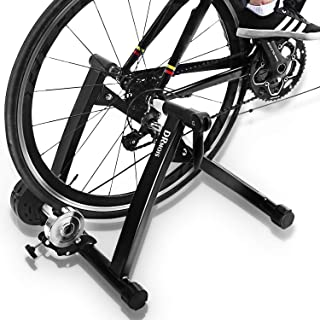 DRMOIS Bike Trainer Stand – Portable Stainless Steel Indoor Exercise Bicycle Trainer Magnetic Flywheel, Stationary Bike Re...