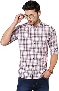 Dennis Lingo Men's Checkered Pink Slim Fit Cotton Casual Shirt
