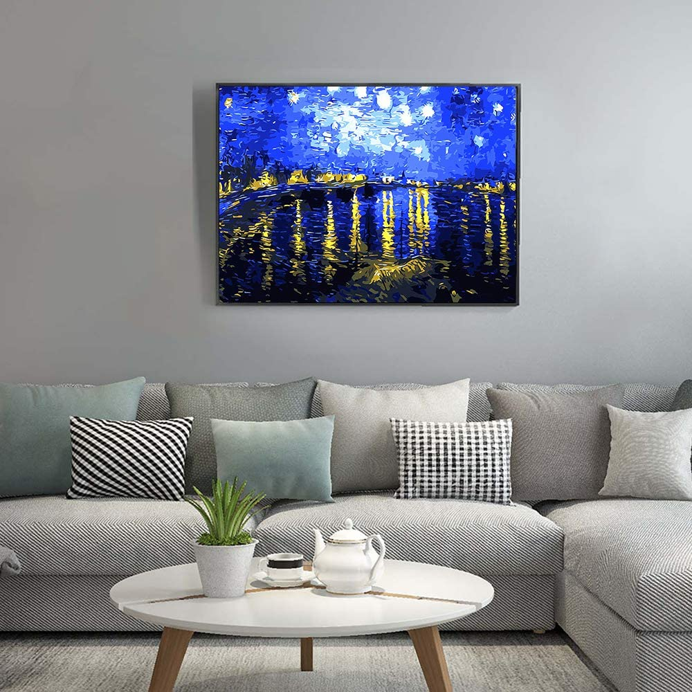 Various Van Gogh Series Paint by Number Kits for Adults Kids Beginners Easy Acrylic on Canvas 16x20with Paints and Brushes,The Rhone River Under The Star Without Frame