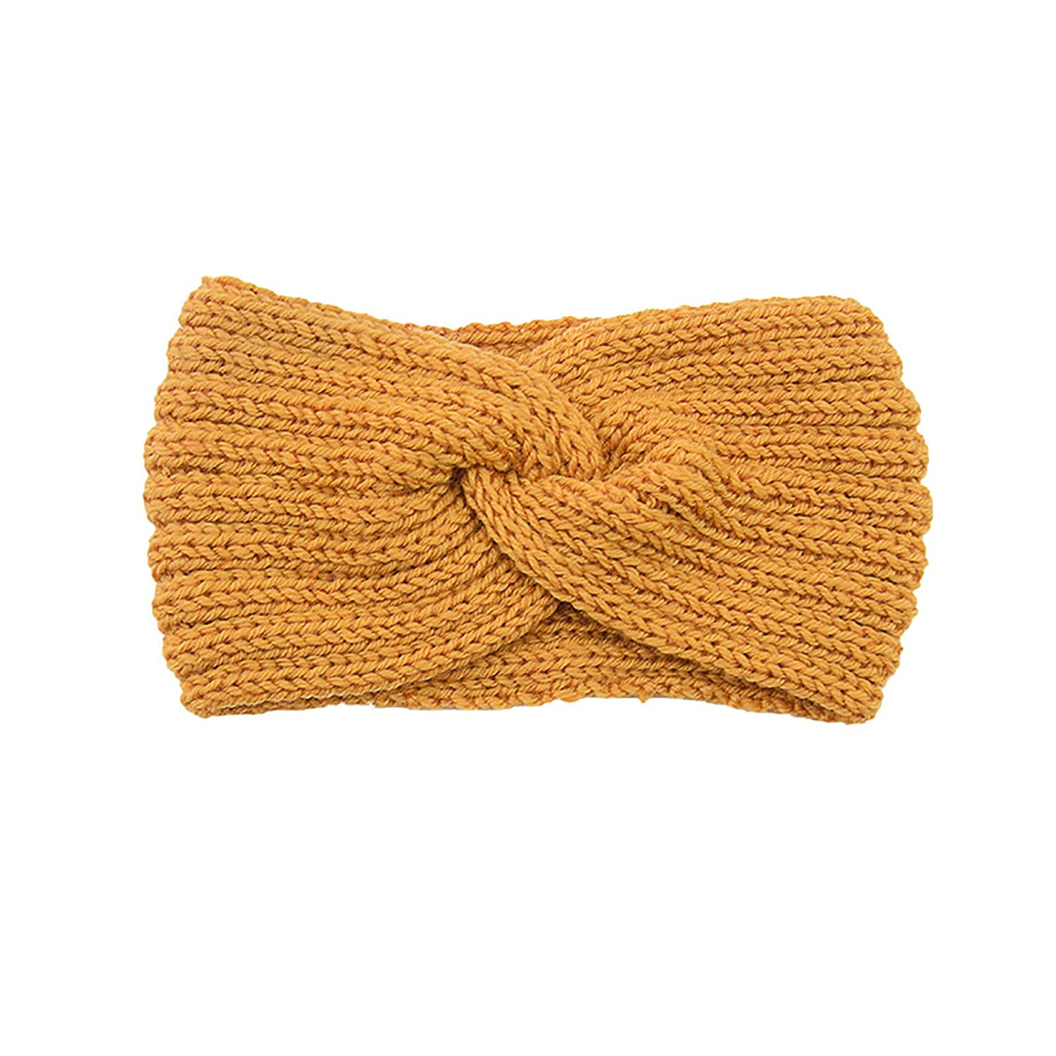 Thatso Winter Headbands for Women, Ear Warmer Headband with Buttons, Soft Stretchy Thick Cable Knitted Turban Hairband Gift (Yellow,One Size)