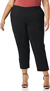 SLIM-SATION womens Pull On Wide Elastic Waist Button Vent Print Twill Crop Pant Casual Pants (pack of 1)