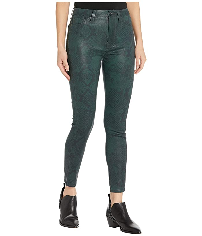 7 For All Mankind  High-Waist Ankle Skinny in Coated Green Python (Coated Green Python) Womens Jeans