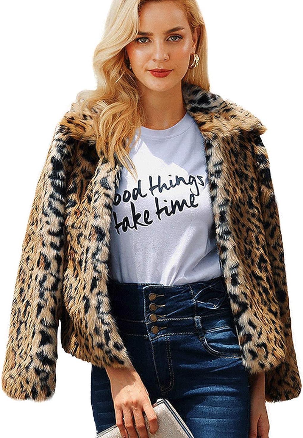 Shilanmei Womens Leopard Coat Vintage Warm Long Sleeve Faux Fur