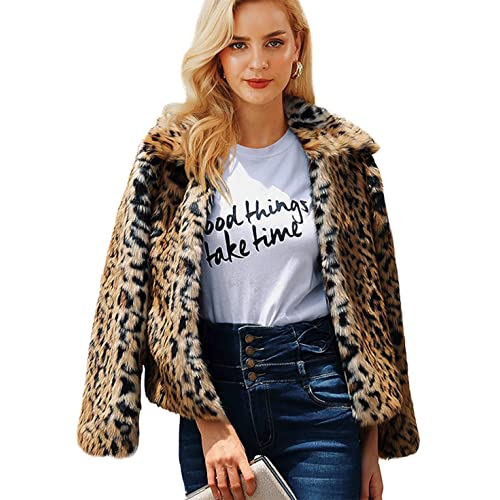3455090f430f Shilanmei Womens Leopard Faux Fur Coat Vintage Warm Long Sleeve Parka Jacket  Outwear