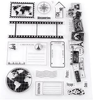 Akozon ختم واضح سجل قصاصات بطاقات صور بطاقات بريدية 14 × 18 سم طوابع سيليكون ختم المطاط