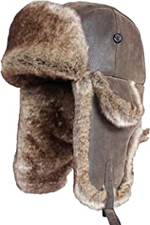 9fbc29c9d70 Bomber Hats Faux Rabbit Fur Russian Ushanka Vintage PU Leather Earflap  Aviator Trapper Winter Warm Snow