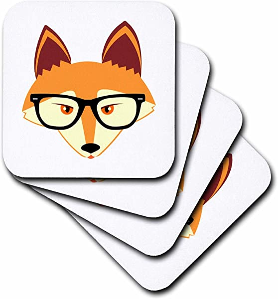 3dRose CST 175372 2 Cute Hipster Red Fox With Glasses Soft Coasters Set Of 8
