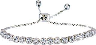 Women's Adjustable Pull Chain Tennis Bracelet (Round CZ...