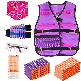 Locisne Gilet Tactique pour Fille Enfant,kit Gilet Tactique avec 100 balles Recharge,2 Bracelets,1 Masque Foulard,1 Masque...