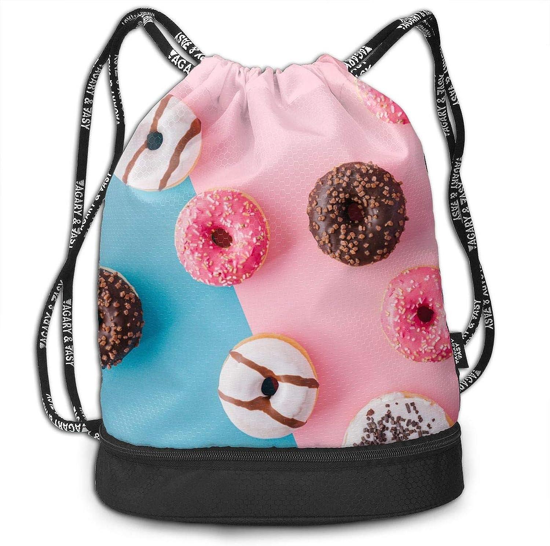 9f2214fb2b77 Gymsack Food Drawstring Bags Simple Bundle Pocket Backpack Doughnut ...