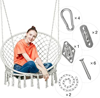 Greenstell Hammock Chair Macrame Swing with Hanging Kits, Hanging Cotton Rope Swing Chair, Comfortable Sturdy Hanging Chairs for Indoor, Outdoor, Home, Patio, Yard, Garden, 330LBS Capacity (Beige)