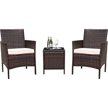 Amazon Com Flamaker 3 Pieces Patio Furniture Set Outdoor Furniture Sets Clearance Cushioned Pe Wicker Bistro Set Rattan Chair Conversation Sets With Coffee Table Brown Kitchen Dining
