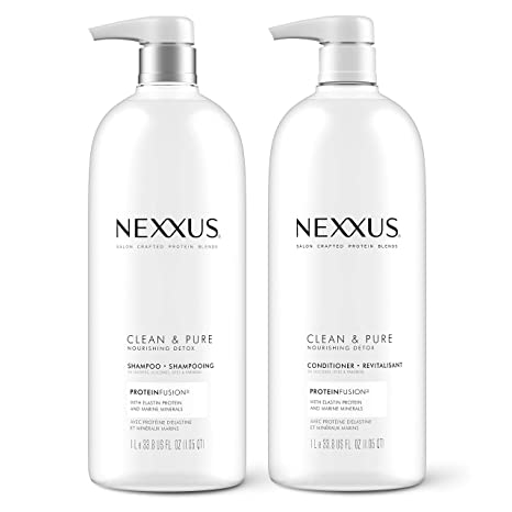 Nexxus Clean and Pure Clarifying Shampoo and Conditioner for Nourished Hair With ProteinFusion, Paraben Free 33.8 oz, 2 Pack