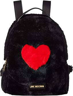 Faux Fur Backpack w/ Heart Design
