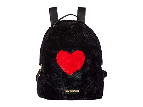 LOVE Moschino Faux Fur Backpack w/ Heart Design