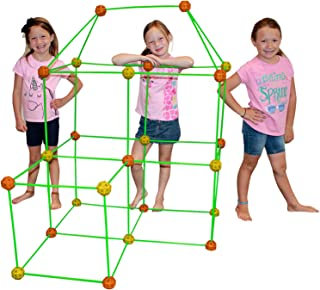 Funphix 77 Pc Fort Building Kit with Glow in The Dark Sticks - Fun Construction Toy for Age 5+ Creative Play - Encourages Imagination & Teamwork ( Orange & Yellow Balls)