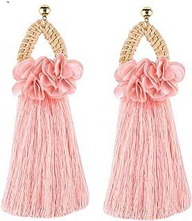 Boho Handmade Tassel Fringes Earrings for Women Ethnic Long Dangle Drop Earrings Rattan Wooden Flower Statement Jewelry