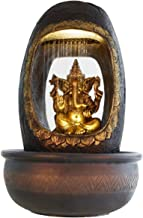 eCraftIndia Lord Ganesh and Round Textured Polystone Water Fountain (27 cm x 27 cm x 40 cm, Brown)
