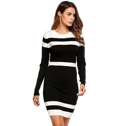 c735187c87b23 Beyove Women s Colorblock Striped Long Sleeve Cotton Knit Sweater Bodycon  Dress